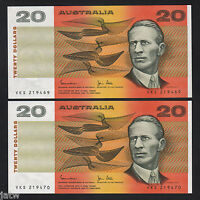 Australia R-408. (1983) 20 Dollars - Johnston/Stone..  UNC - CONSECUTIVE Pair