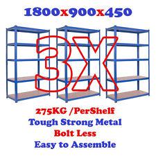 (3X) 5 tier heavy duty boltless metal steel shelving storage unit Industrial