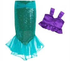 Kids Girl's The little mermaid tail princess ariel dress cosplay costume