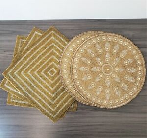 """Kim Seybert - (2) Silver & Gold Beaded Placemats Holiday 15"""" + (3) Square Mats"""
