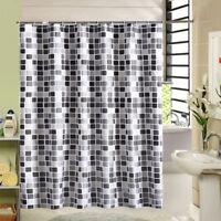 tissu douche rideau de bains mosaïque extra-longue+ crochets anneau 2 * 2,2 m FW