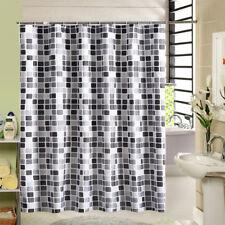 Tissu mosaïque rideau douche bain transparent imperméable 2*2,2m inc 12crochets