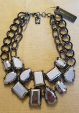 BCBG MAXAZRIA  ABSTRACT METAL STONES  STATEMENT NECKLACE