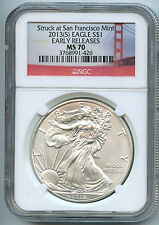 2013 S Silver American Eagle Dollar MS70 NGC ER Certified Coin San Francisco
