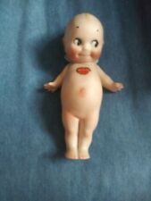 """Antique Rose O'Neill 7"""" Kewpie All Bisque Doll Jointed arms Blue wings"""