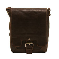 Ashwood - Small Dark Brown Crumble Leather Kingston Messenger Flight Bag