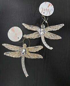 X2 Gold Glitter Dragonfly Christmas Decorations. Clear & Gold Hanging Dragonfly