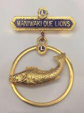Vintage Lions Club Maniwaki Que Fish Lions Canada Pin B898