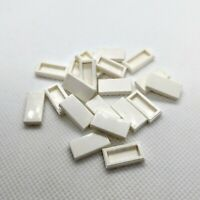20x Genuine LEGO Part 3069 WHITE 1x2 Flat Smooth Tile with Groove Underneath
