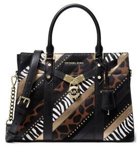 ❤️ Michael Kors Nouveau Hamilton Large Leather Black Multi/Gold Satchel