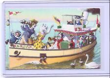 ALFRED MAINZER ANTHROPOMORPHIC DRESSED CATS BOAT RIDE POSTCARD #4911 BELGIUM