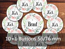 10 + 1 JGA Buttons Ø 76 mm / 56 mm Junggesellinnenabschied floral Aquarell Rosen