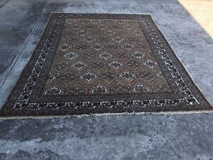 7'7'' X 12  Antique Turkmen Tribal Oriental hand knotte wool  Rug hand made