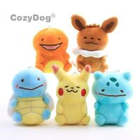 Pokemon Ditto Eevee Pikachu Bulbasaur Charmander Squirtle Plush Keychain Toy NEW