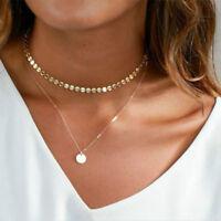 Kette Halskette Chocker Doppelt Circle Kreis Rund Neu Silber