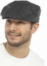 Mens Waxed Flat Cap Peaked - Showerproof Country Racing Hat Newsboy Hunting