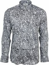 Relco Platinum Collection Satin Cotton Shirt Paisley Black 60s Mod Skin Rsf603 L
