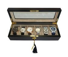 6 (5 + 1) EBONY WOOD WALNUT WATCH DISPLAY COLLECTOR GLASS TOP CASE BOX MENS GIFT