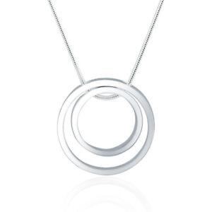 Halskette Kreis Ring Anhänger Silber 925 plattiert Modisch Stylisch Kette
