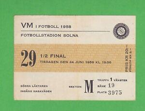 1958 FIFA World Cup ticket #29 1/2 Finals Brazil vs France, Pelé WC goals #2,3,4