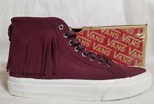 New Vans SK8 Hi Moc Suede Leather Port Royal Red White Skate Shoe Women Size 6