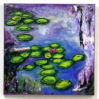 """Frog Green Lily Pads Monet Hand Painted Impressionism signed """"Robert"""" COA"""