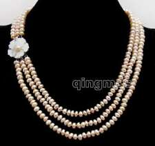 6-7mm Natural Freshwater Pink Flat Round Pearl 3 strands Necklace for Women 1521