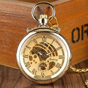 Antique Unisex Hand-winding Mechanical Pocket Watch Pendant Chain Roman Number