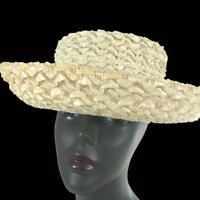 Womens Vtg Designer John Frederics Charmer Woven Ivory Straw Boater Breton Hat