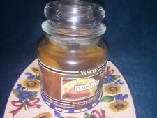 USED YANKEE CANDLE BLACK BAND HOUSEWARMER PUMPKIN PIE 14.5 OZ. MEDIUM JAR