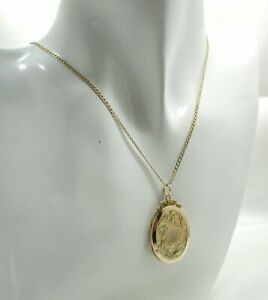 Antique Lovely 9 Carat Back And Front Engraved Locket On A 9 Carat Gold Chain