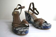 Coach Alina DENIM  BROWN Signature Patchwork Wedge Heels Ankle Strap Sandals 8.5