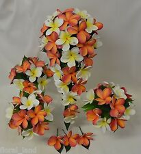 WEDDING BOUQUET FLOWER LATEX FRANGIPANI TROPICAL ORANGE WHITE YELLOW FLOWERS SET
