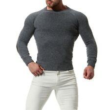 Мужская приталенная длинный рукав трикотажный свитер базовый круглый вырез на запад джемпер D