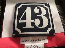 Hausnummer Emaille Nr. 43 weisse Zahl auf blauem Hintergrund 14 cm x 14 cm