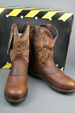 Men's Justin WK4656 Steeltoe Brown Cowboy Work BOOTS 8 EE