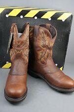 New Men's Justin WK4656 Steeltoe Brown Cowboy Work Boots 11 D