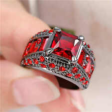 Noble Red Ruby CZ Engagement Ring 18KT Black Gold Filled Women Jewelry Size 6