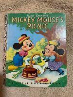 A Little Golden Book Walt Disney's Mickey Mouse's Picnic 1950 Edition D15 NICE!