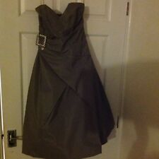 Designer Karen Millen Stunning Boned Party Dress Silver Strapless Creation