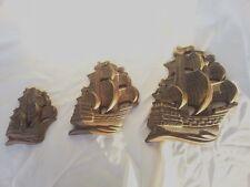 Vtg Mid Century Retro Chalkware Miller Studio Set 3 Galleons Sailing Ships Wall