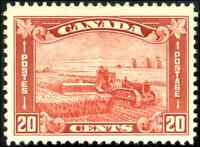 Canada #175 mint VF OG NH 1930 Arch/Leaf Issue 20c brown red Harvesting Wheat