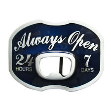 Always Open II Metal Belt Buckle Bottle-Opener Barkeeper Barman Beer Bartender