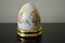 Papel Bone China Egg with Stand - Rabbits Flowers Birds Butterfly #D
