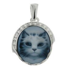 Anhänger Kettenanhänger Katze mit Achat Gemme Zirkonia auch Kette 925 Silber Neu