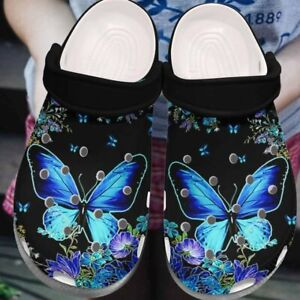 Butterfly Crocband Clog Blue Flowers & Butterfly