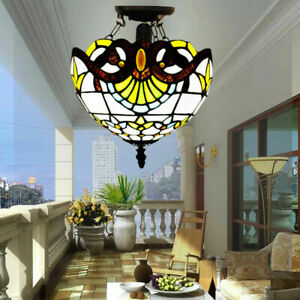UNIQUE TIFFANY STYLE GLASS HANDCRAFTED CEILING LIGHT/LAMP Stained Glass UK