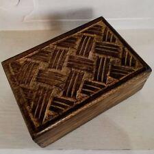 Wood Carved Box  Indian Wood Fair Trade Ideal Man Gift Present Trinket Handmade