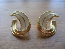 "MONET GOLD TONE & IVORY COLOR CLIP EARRINGS 7/8"" x 7/8"""