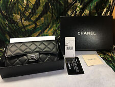 Chanel Wallet Black Flap Quilted luxury lambskin leather classic New in box